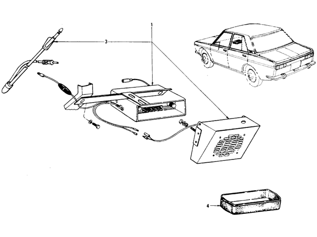 Datsun 510 Parts illustration no. 030-2 Antenna (From Oct.-'69)