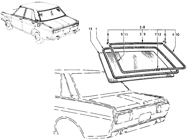 Datsun 510 Parts illustration no. 091-1 Rear Window Glass (Sedan)